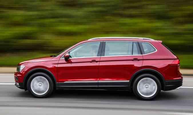 Novo Tiguan Allspace ganhou 27,4cm de comprimento e 18,5cm de entre-eixos(foto: Volkswagen/Divulgação)