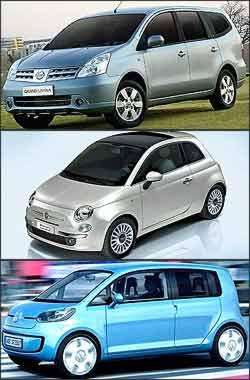 Nissan Livina, Fiat 500 e Volkswagen SpaceUp! - Nissan/Fiat/VW/Divulgação