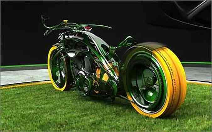 Agressividade verde: um largo pneu de seção larga domina a traseira da M-Org