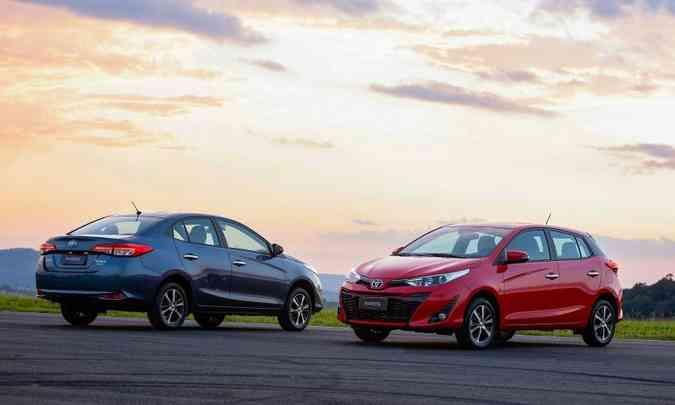 O Toyota Yaris Sedan e o hatch registraram aumento nas vendas em julho(foto: Toyota/Divulgação)