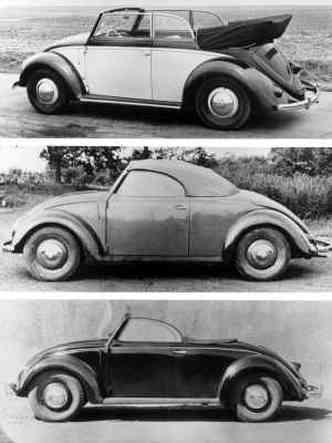 Acima um conversível 1949; seguido por uma unidade de 1946 construída especialmente para um militar britânico; por fim, modelo conversível fabricado pela Hebmüller(foto: Volkswagen/Divulgação)