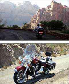 O caminho foi percorrido em uma legítima Harley-Davidson 1.450, modelo Road King, o famoso
