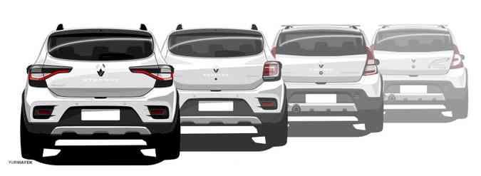 Evolução dos painéis dianteiros e traseiros do Sandero ao longo dos anos