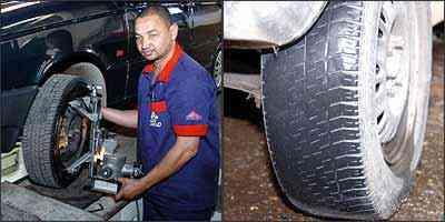 Alinhamento da direção e balanceamento das rodas devem ser conferidos para evitar desgaste irregular dos pneus que acaba por condená-los - Juarez Rodrigues/EM - 14/6/07 (E) - Jair Amaral/EM - 14/12/05