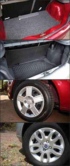 Porta-malas do hatch compacto da Ford tem volume um pouco maior. No Palio, porta-malas tem rede e acabamento de melhor qualidade. Roda do Fiesta em aço com calota e a do Palio de liva leve, mas como item opcional -