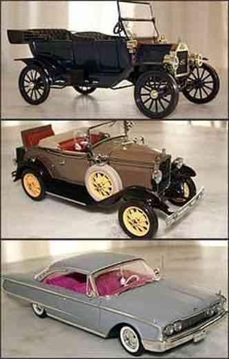 Modelo T inaugurou sistema de linha de produção, em 1913, e era o carro mais acessível. Modelo A ficou conhecido por ter o banco da sogra e o oval azul como logotipo da Ford. Sedã Galaxie Starliner era visto como automóvel preferido pelos gângsters(foto: Fotos: Marlos Ney Vidal/EM - 17/4/07)