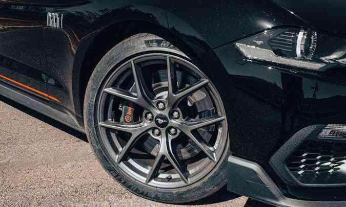 As belas rodas de alumínio são de 19 polegadas, sendo que as do eixo dianteiro são calçadas com pneus na medida 255/40 R19(foto: Jorge Lopes/EM/D.A Press)