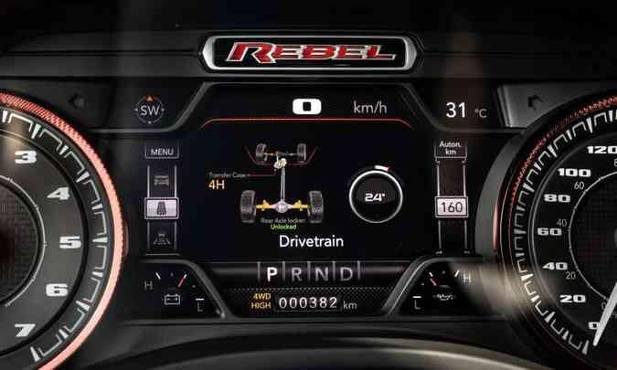 O painel traz informações sobre o sistema de tração da Ram 1500 e outras tecnologias(foto: FCA/Divulgação)