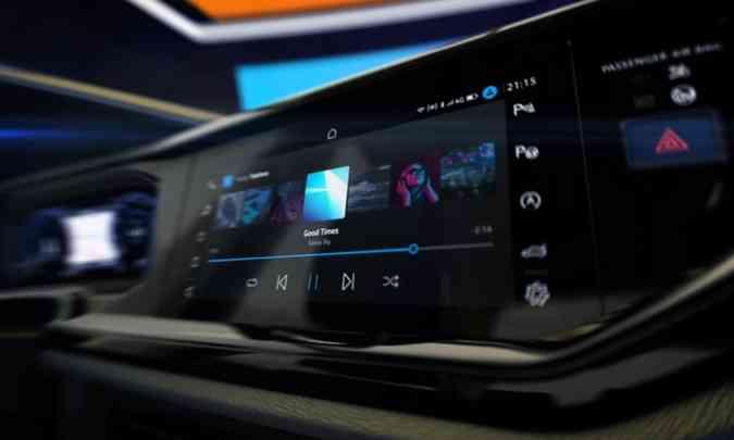 O painel tem desenho moderno, com linhas horizontalizadas, e todo digital(foto: Volkswagen/Divulgação)