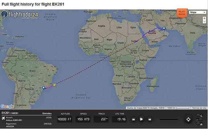Mapa de voo da rota feita pelo A380 de Dubai para São Paulo(foto: Reprodução/Flight Radar)