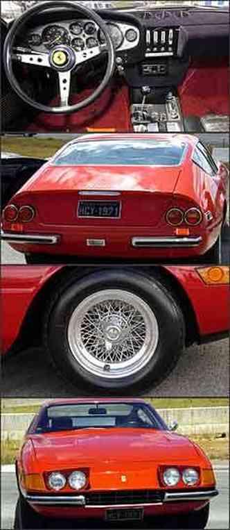 Painel tem mostradores concentrados à frente do motorista e volante com aro fino. Na traseira, saídas duplas do escapamento liberam o inconfundível som do motor. Modelo tem rodas raiadas com cubo rápido. Faróis escamoteáveis mudam a frente