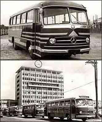 Um dos primeiros exemplares do monobloco urbano produzidos em 1958, com capacidade para transportar 28 passageiros. Primeira exportação de monoblocos Mercedes-Benz O321 urbano, com motor de 110 cv, foi para a Venezuela(foto: Arquivo/DaimlerChrysler)