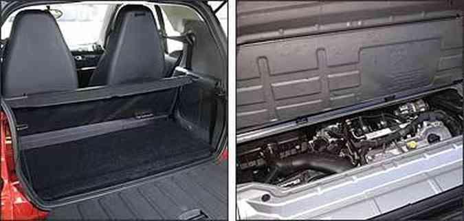 Espaço para bagagens é reduzido e cabem apenas bolsas pequenas <b>(E)</b>e motor de três cilindros tem consumo de 25km/l na estrada
