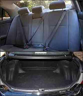 Cinto de três pontos e apoio de cabeça para todos atrás. Porta-malas tem a capacidade para 470 litros.