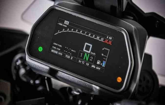 a montadora trouxe uma tela colorida TFT com indicadores completos, mas que pode ser personalizado pelo condutor. Foto: Yamaha/ Divulgação