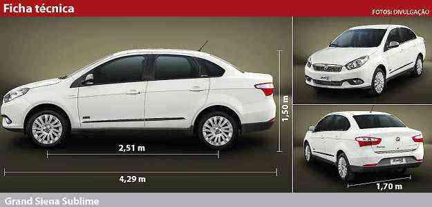 Clique aqui e confira a ficha técnica completa do Fiat Grand Siena Sublime - Arte: Soraia Piva/EM/D.A PRESS