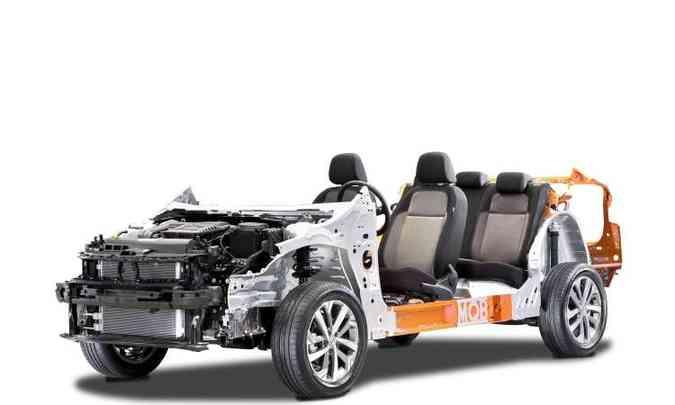 A plataforma modular MQB A0 é construída com aço de alta e ultra resistência(foto: Volkswagen/Divulgação)