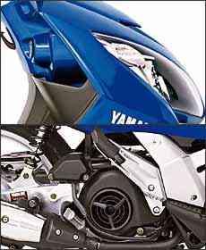 Posicionado na horizontal, perto da roda traseira, motor tem refrigeração a ar forçada e 8,4 cv de potência - Fotos: Yamaha/Divulgação