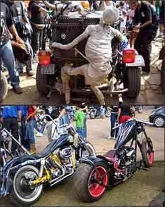 Múmia vai na garupa de triciclo, sem reclamar. Guidão alto ou baixo nas Harleys estilizadas