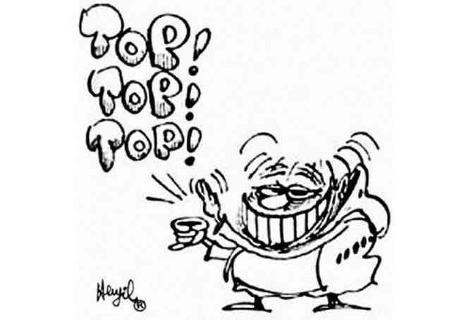 O fradinho Baixim, personagem do cartunista Henfil, e seu gesto típico(foto: Reprodução)
