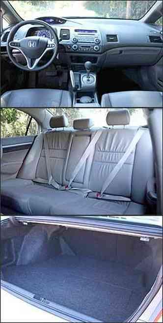 Os instrumentos estão divididos em dois painéis sendo um digital e o outro analógico. Banco traseiro é completo em segurança. Capacidade do porta-malas do Honda Civic é a menor entre os sedãs brasileiros.