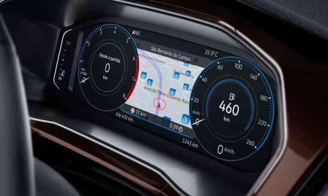 O painel digital Active Info Display pode ter diferentes configurações, inclusive com o mapa para navegação(foto: Volkswagen/Divulgação)