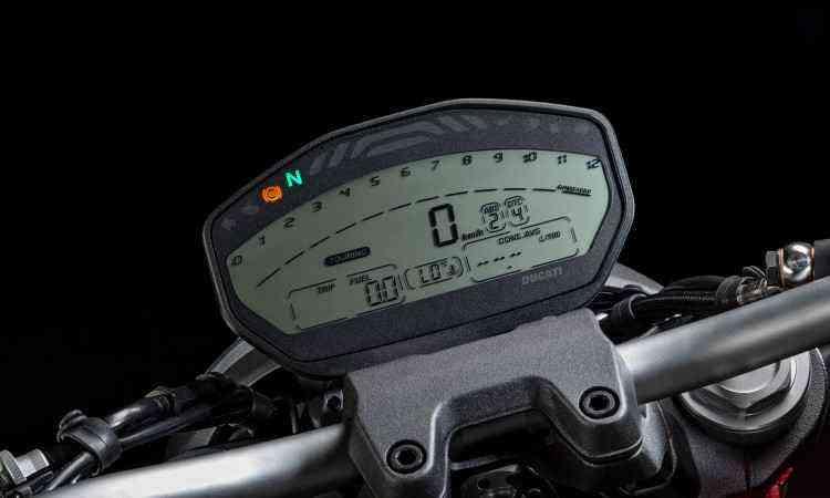 O painel digital não tem marcador de nível de combustível - Ducati/Divulgação