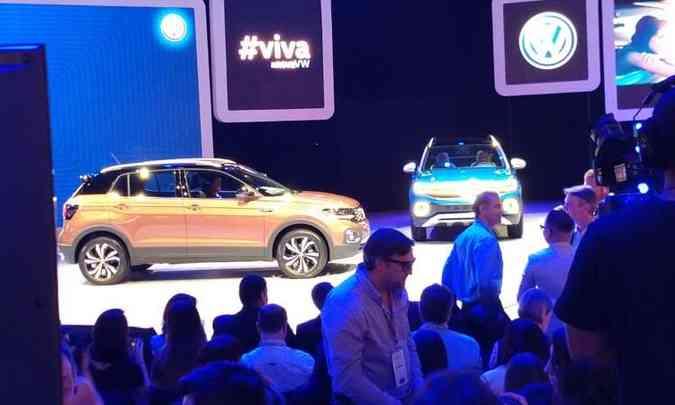 O SUV T-Cross e a picape Tarok são os principais destaques no estande da Volkswagen(foto: Pedro Cerqueira/EM/D.A Press)