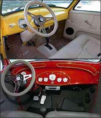 Interior revestido em couro bege, alavanca da Pajero Sport e volante esporte Lenker. Vermelho: painel autometer americano e direção com assistência hidráulica modernizam sedã de 1934