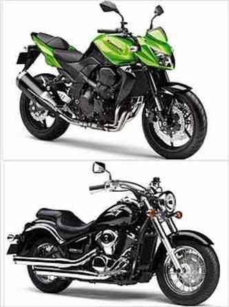A Z 750 (verde), com estilo naked, tem propulsor de quatro cilindros em linha. A custom Vulcan 900 tem estilo clássico, com pára-lamas envolventes