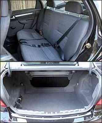 Faltam espaço e conforto no banco traseiro. O porta-malas tem bom volume e abertura pequena