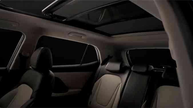 O interior do SUV terá acabamento em couro em tons bege e marrom(foto: Hyundai/Divulgação)