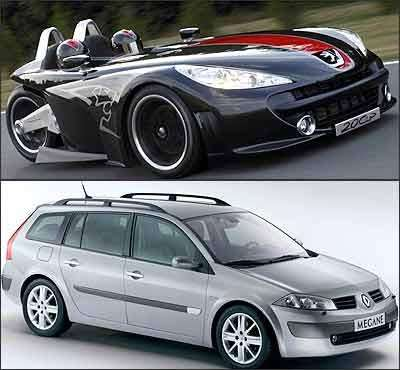 20Cup será uma das atrações do estande da Peugeot (superior). Já o Mégane Grand Tour chega para ficar - Peugeot/Divulgação - 5/10/06 / Renault/Divulgação (inferior)