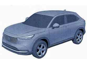 Imagem de patente, dianteira estatica, do continente asiático revelam as linhas da nova geração do Honda HR-V 2023.(foto: Reprodução)