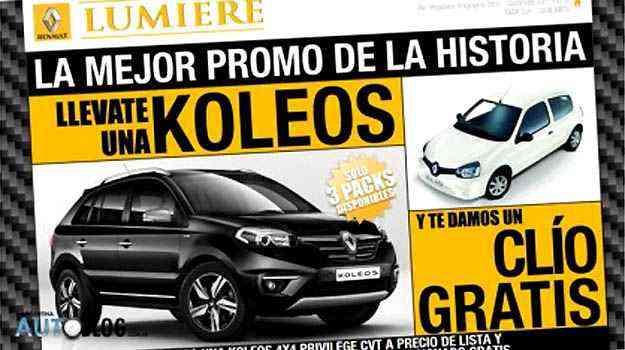 Para amenizar efeitos da alta dos impostos, Renault oferece um Clio de 'brinde' na compra do SUV Koleos - Reprodução da internet/Autoblog Argentina