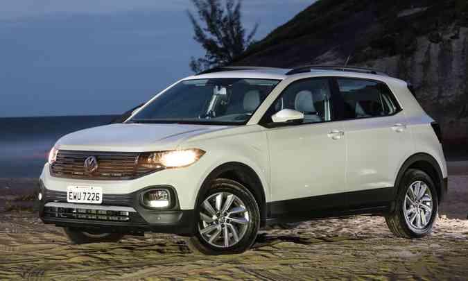 Lançado em abril, VW T-Cross é o quarto SUV mais vendido quando levamos em conta a média mensal(foto: Pedro Danthas/Volkswagen/Divulgação)