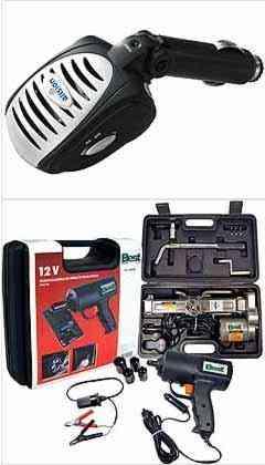 O ionizador promete acabar com odores e purificar o ar do carro. Kit com macaco e parafusadeira elétricos acaba com a suadeira - Aliseu/Divulgação e Conthey/Divulgação