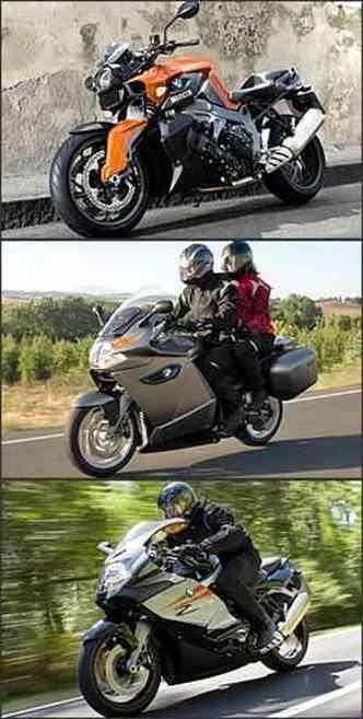 Sem carenagem, o modelo R tem os mesmos conjuntos mecânico e eletrônico das irmãs. Malas laterais e conforto aerodinâmico para a estradeira GT encarar viagens longas. Modelo esportivo (S) usa o mais potente motor BMW, de 175 cv(foto: BMW/Divulgação - 22/12/08)