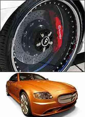 Roda transparente e Maserati Quattroporte que virou Ouro Quatroporte(foto: Forgiato/Divulgação - Studio M/Dibulgação)