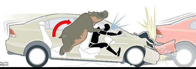 O passageiro traseiro é arremessado contra o banco da frente com peso de um hipopótamo e pode ser cuspido do carro - Arte: Paulinho Miranda/EM/D.A PRESS