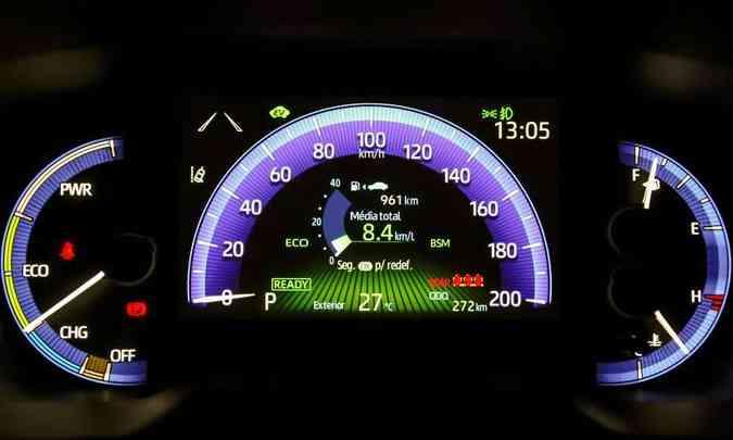 Já na versão híbrida, o painel de instrumentos é todo digital e traz informação da carga da bateria(foto: Toyota/Divulgação)