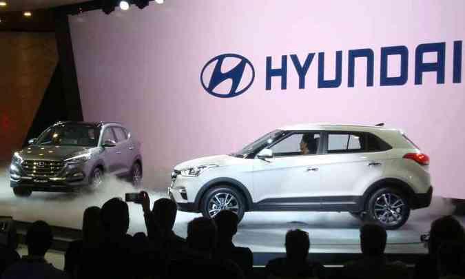 Hyundai trouxe novo Tucson, que convive com o velho, situado abaixo do Creta (à direita)(foto: Bruno Freitas/EM/D.A Press)