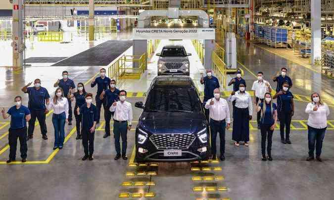 As primeiras unidades do Hyundai Creta 2022 produzidas na fábrica de Piracicaba serão destinadas ao evento de lançamento e ao showroom das concessionárias(foto: Hyundai/Divulgação)