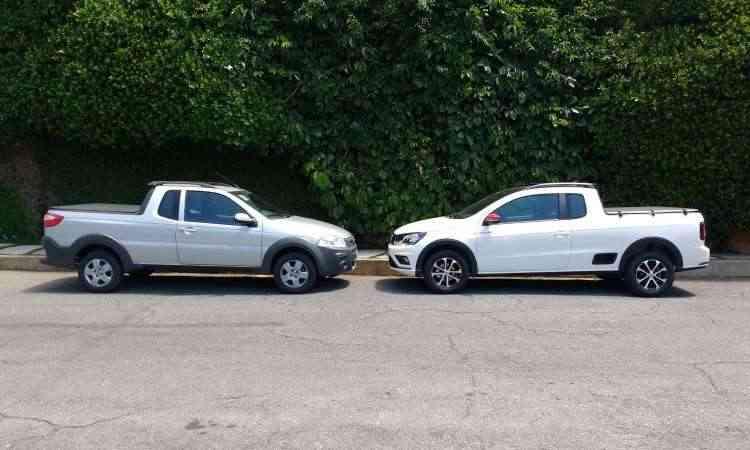 Ambas têm carroceria com cabine estendida, sendo que o modelo VW conta com degrau na lateral - Pedro Cerqueira/EM/D.A Press