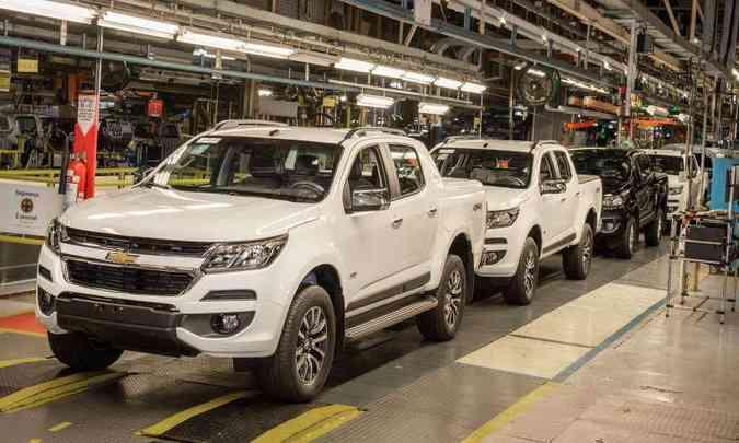 Picape S10 de número 1 milhão sai da fábrica de São José dos Campos (SP), sendo que 750 mil foram destinadas ao mercado interno e o restante exportado(foto: Chevrolet/Divulgação)