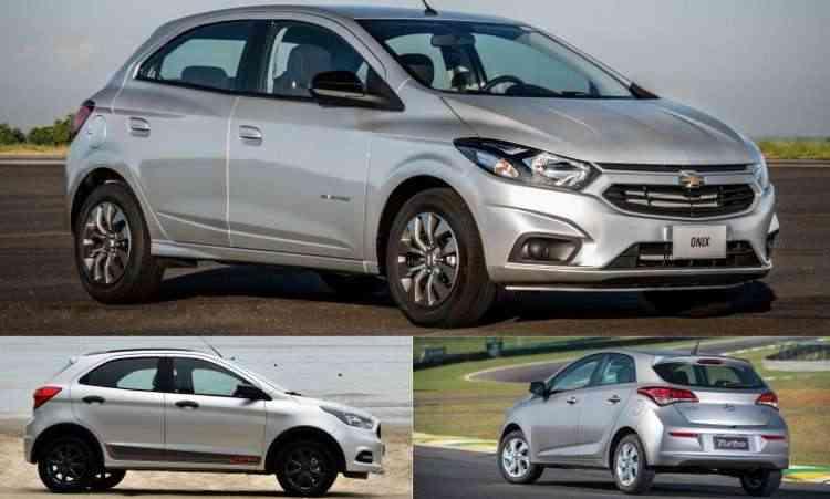 Colagem com fotos de divulgação da Chevrolet, Ford e Hyundai