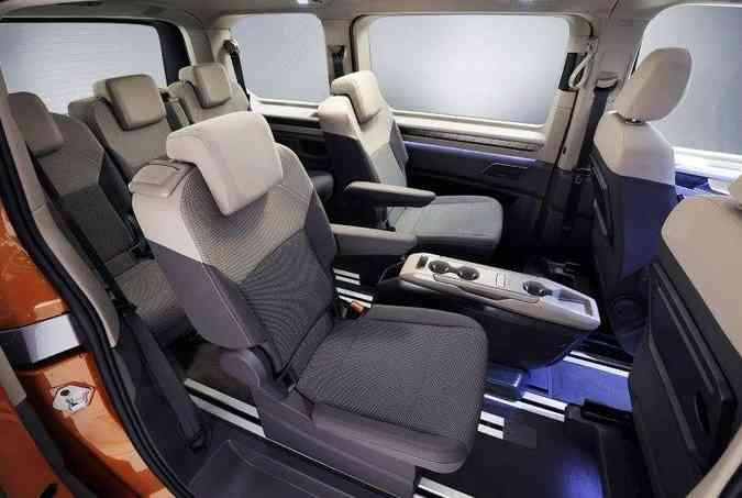 Interior da T7, com sete lugares(foto: Volkswagen/Divulgação)