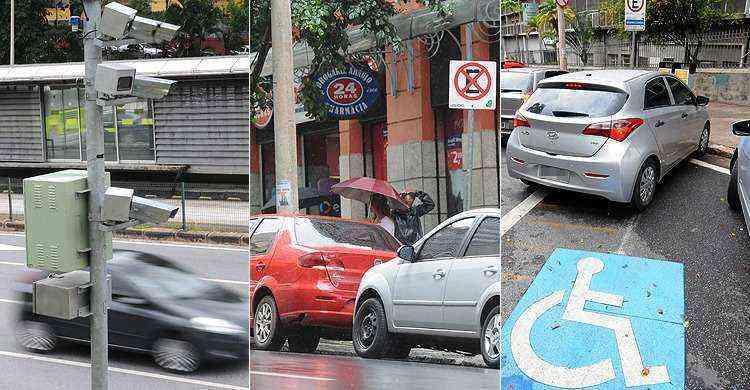 Além do excesso de velocidade, multas por estacionamento proibido também são frequentes  - Gladyston Rodrigues e Marcos Vieira/EM/D.A Press