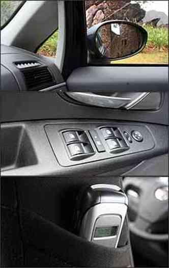 Coluna A (dianteira) típica de monovolume melhora visibilidade e tem vidro fixo. Já o retrovisor enorme compensa deficiência na visão lateral traseira. Posição dos comandos dos vidros facilitam tarefa do motorista e bolso lateral serve para pôr pequenos o