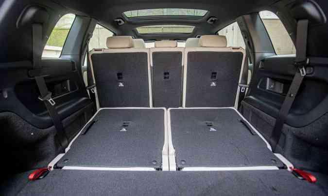 Com a terceira fileira de bancos rebatida, a Mercedes-Benz declara volume do porta-malas de 500 litros(foto: Mercedes-Benz/Divulgação)